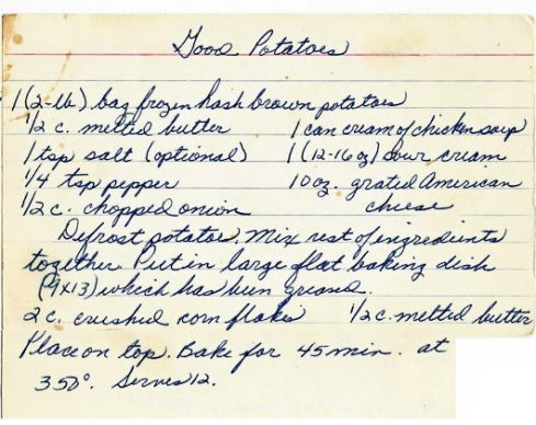Leas Recipe Card Good Potatoes