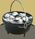 Black Pot with Coals on Lid