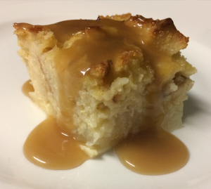Pear Bread Pudding with Butterscotch Sauce