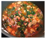 Spicy Sausage and Navy Bean Soup