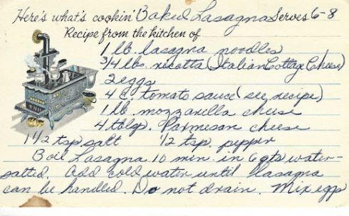 Leas Recipe Card Baked Lasagna